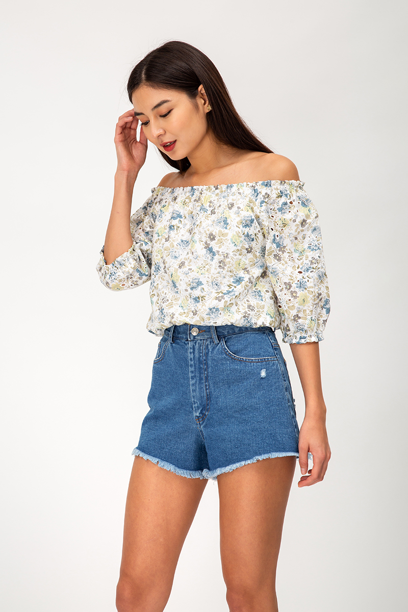 REIKO FLORAL EYELET OFF SHOULDER TOP