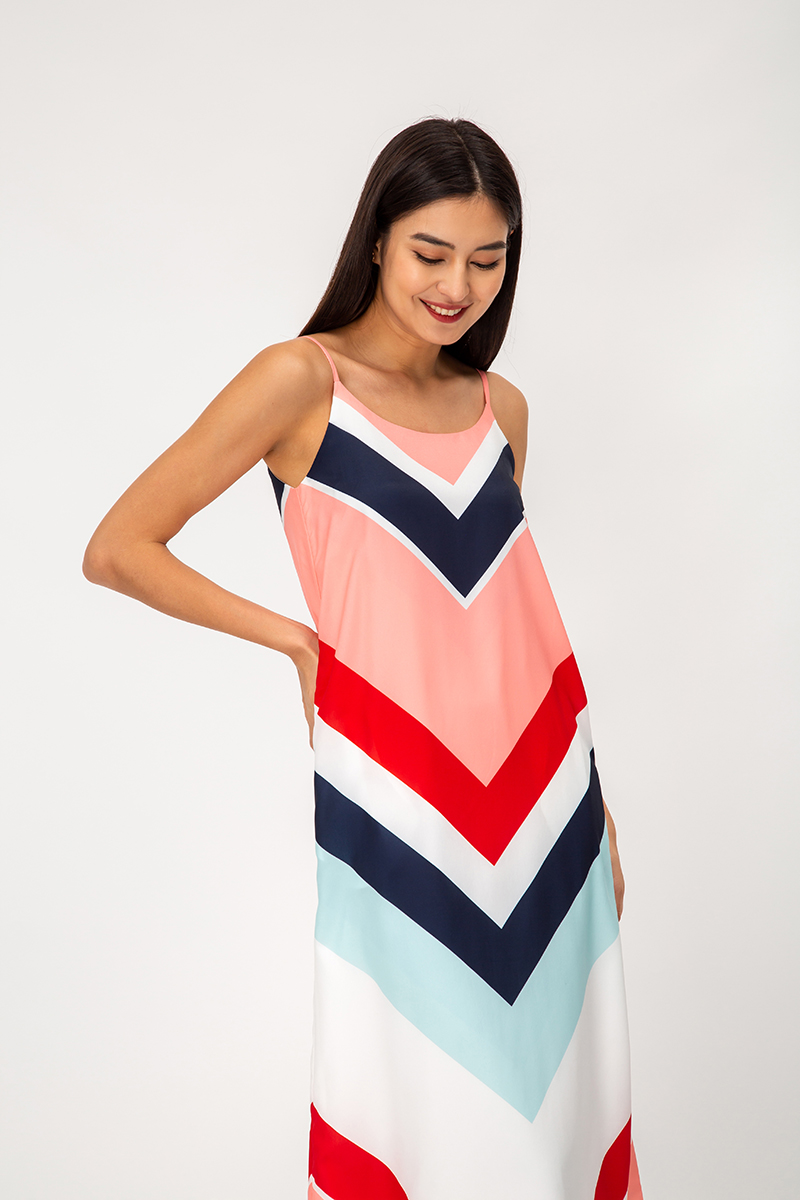 PAMMY STRIPED MIDI DRESS W SASH