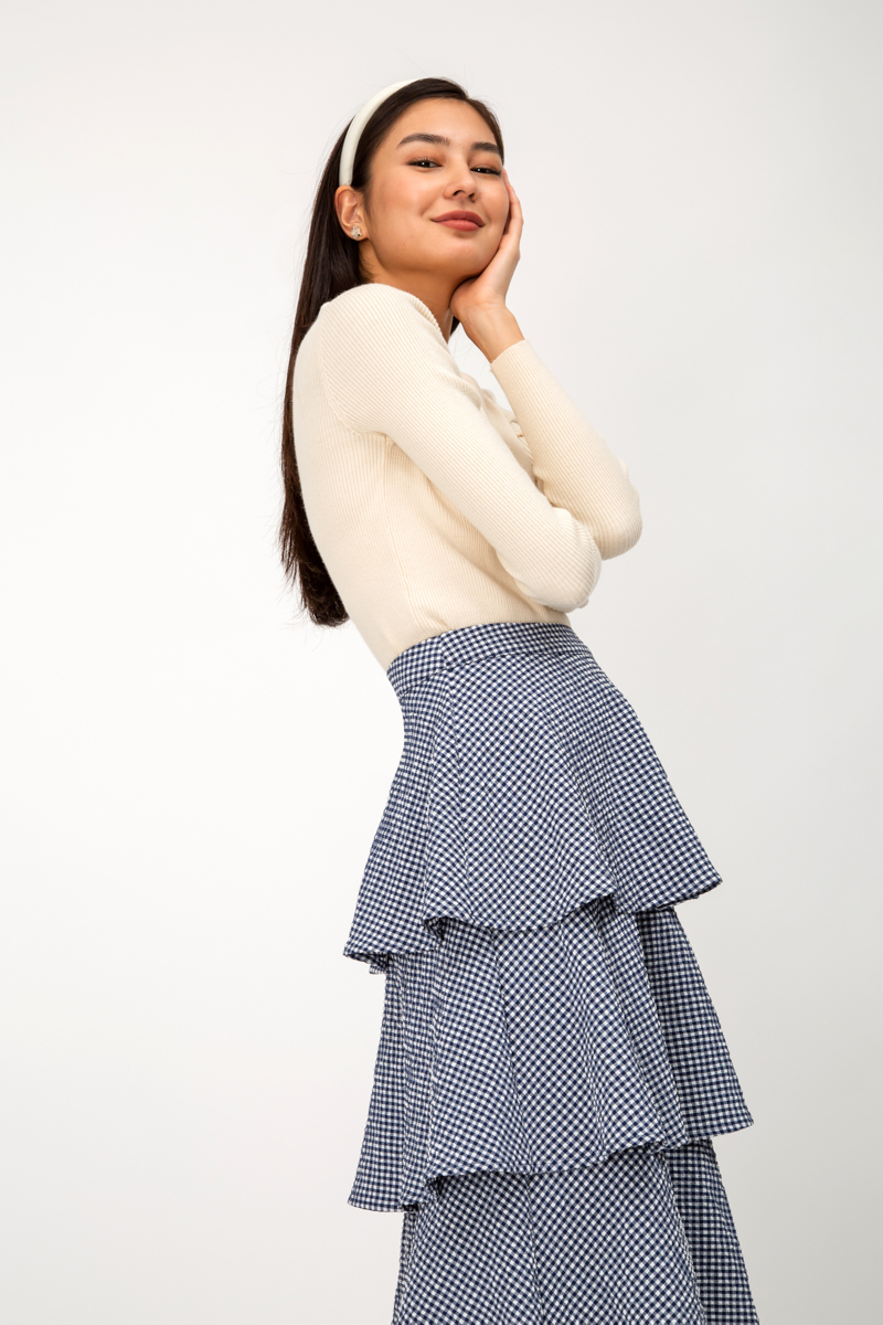 JESSE CHECKERED TIERED SKIRT
