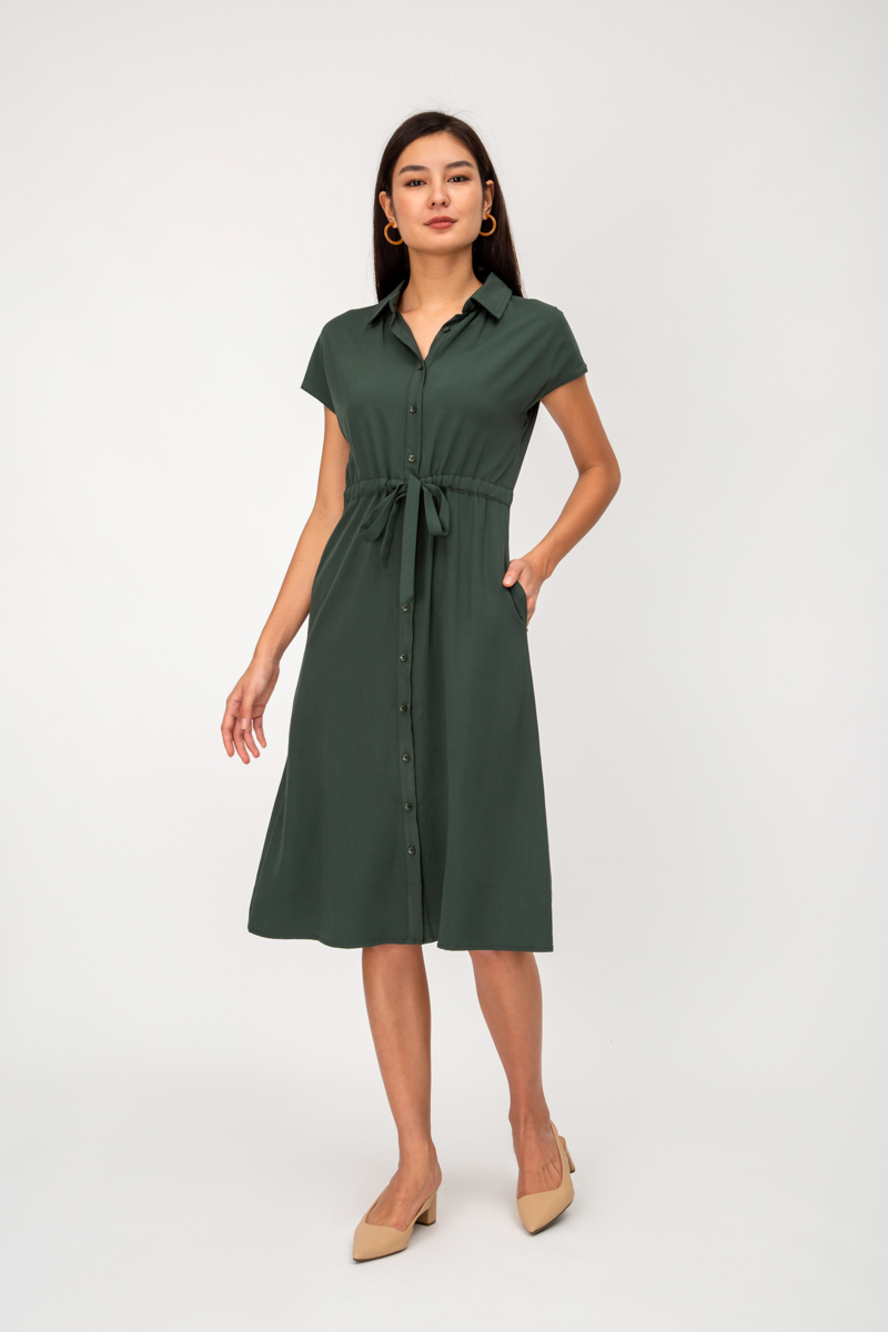 PERRIN TENCEL BUTTONDOWN DRAWSTRING SHIRT DRESS