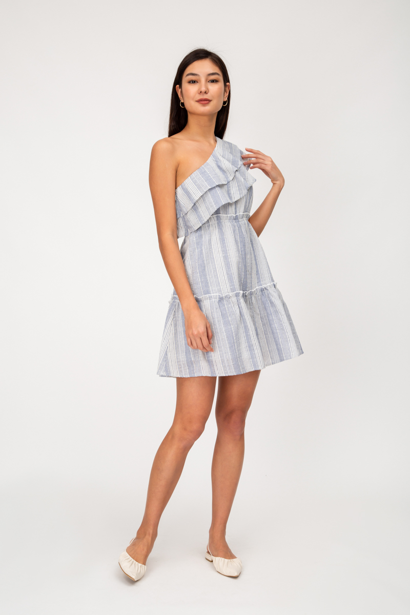 INDY STRIPE LINEN TOGA PLAYSUIT