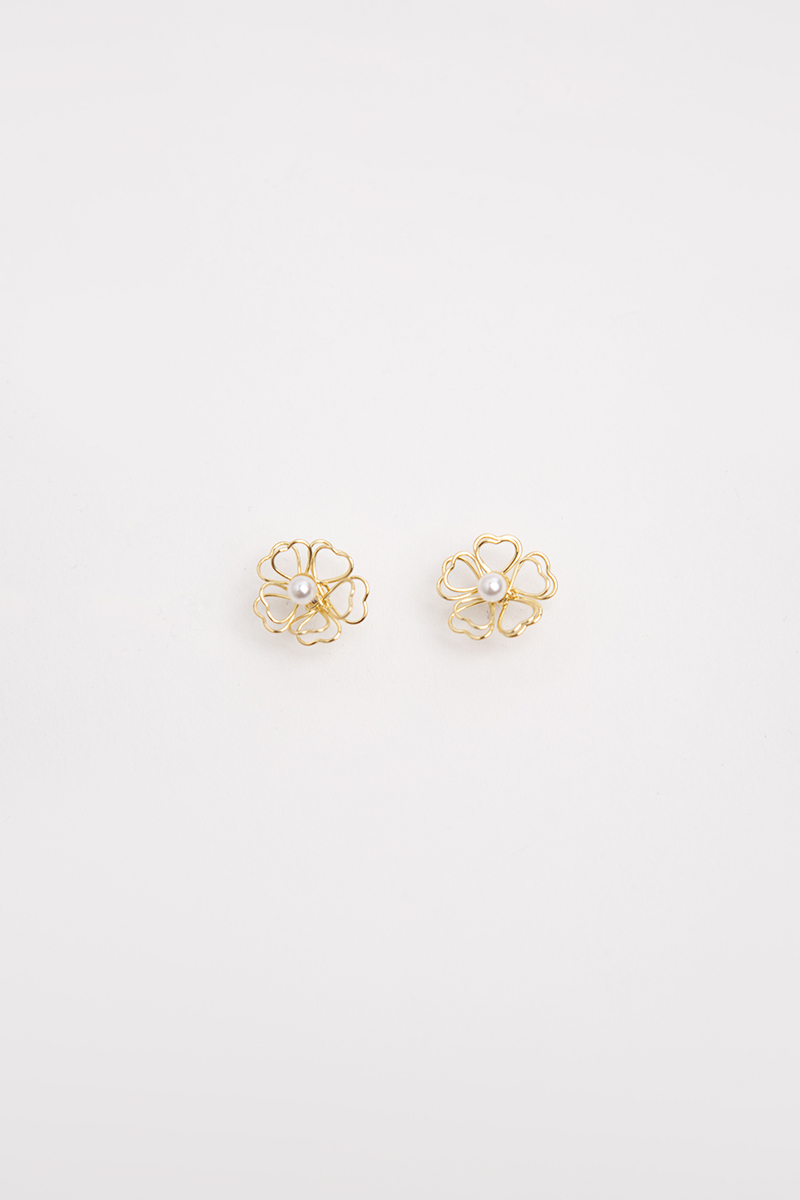 DOUBLE OUTLINE FLORAL STUD EARRINGS