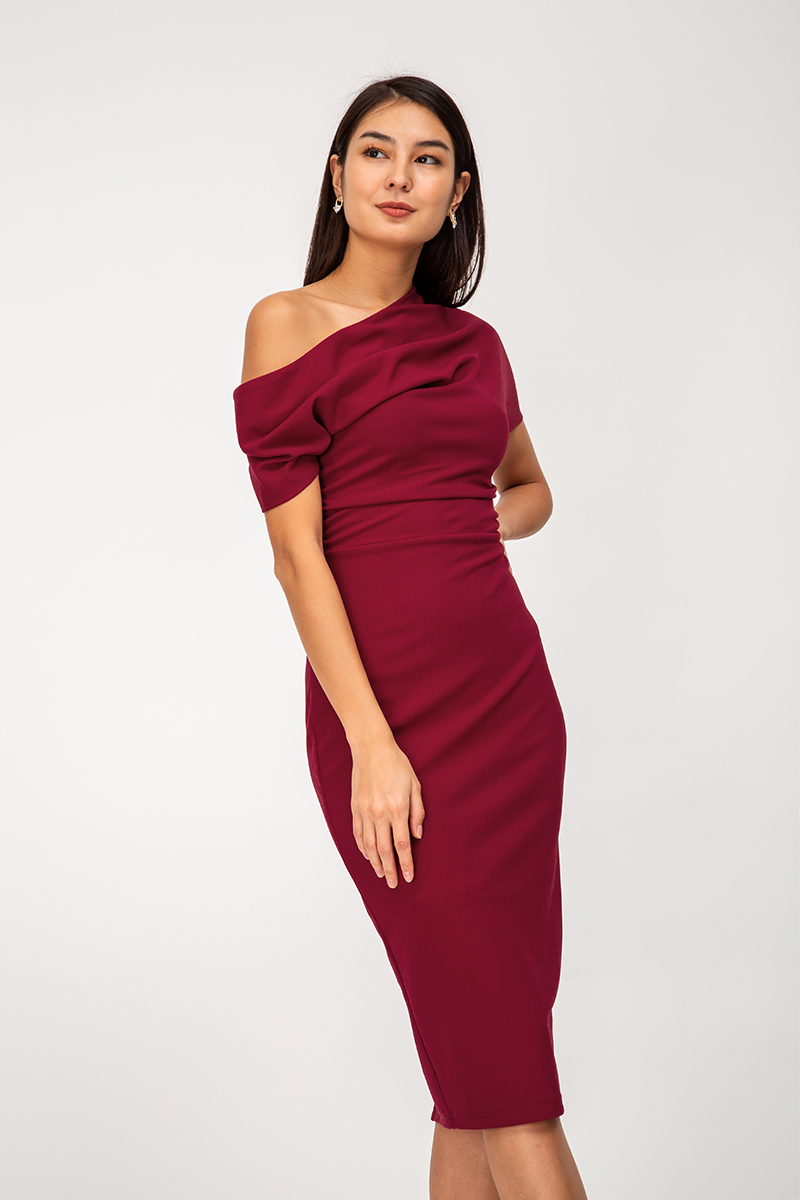 ELDORA OFFSHOULDER RUCHED MIDI DRESS