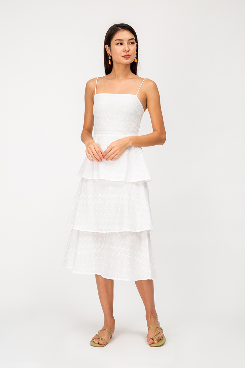 STELLAR EMBROIDERY TIERED MIDI DRESS