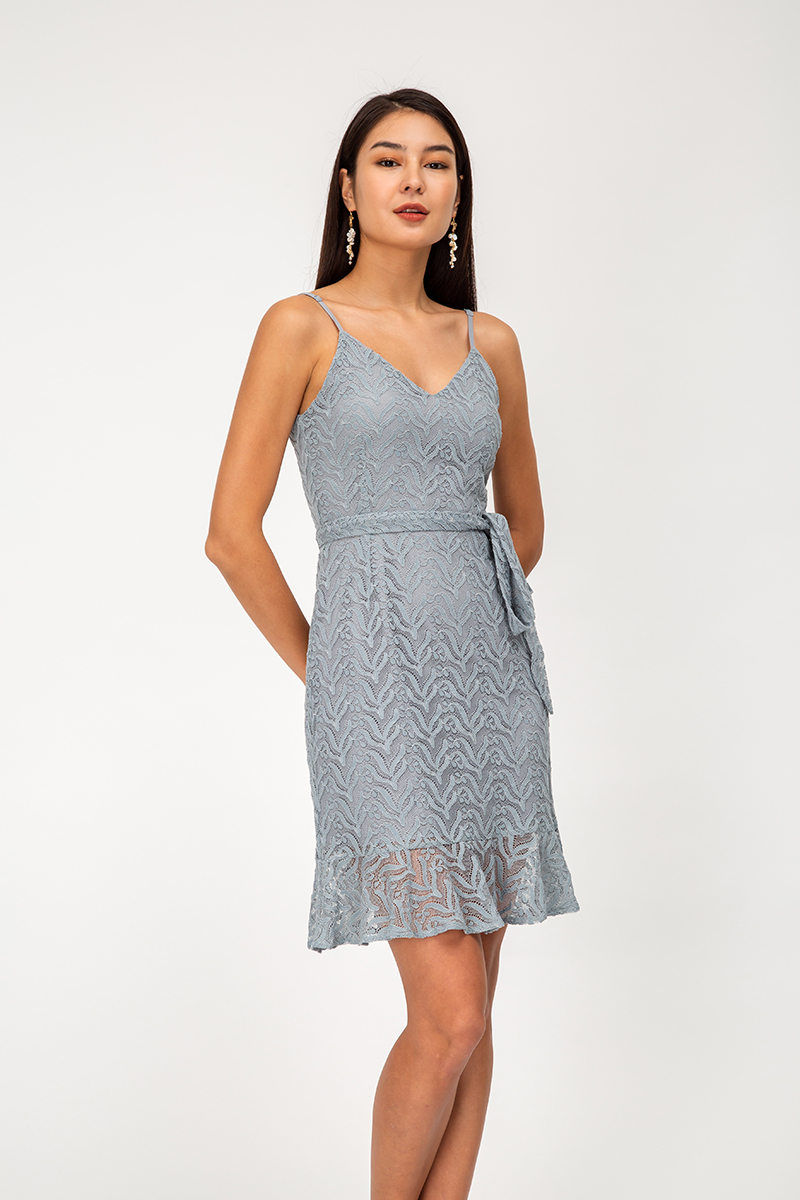 FAUNIA LACE MIDI DRESS W SASH
