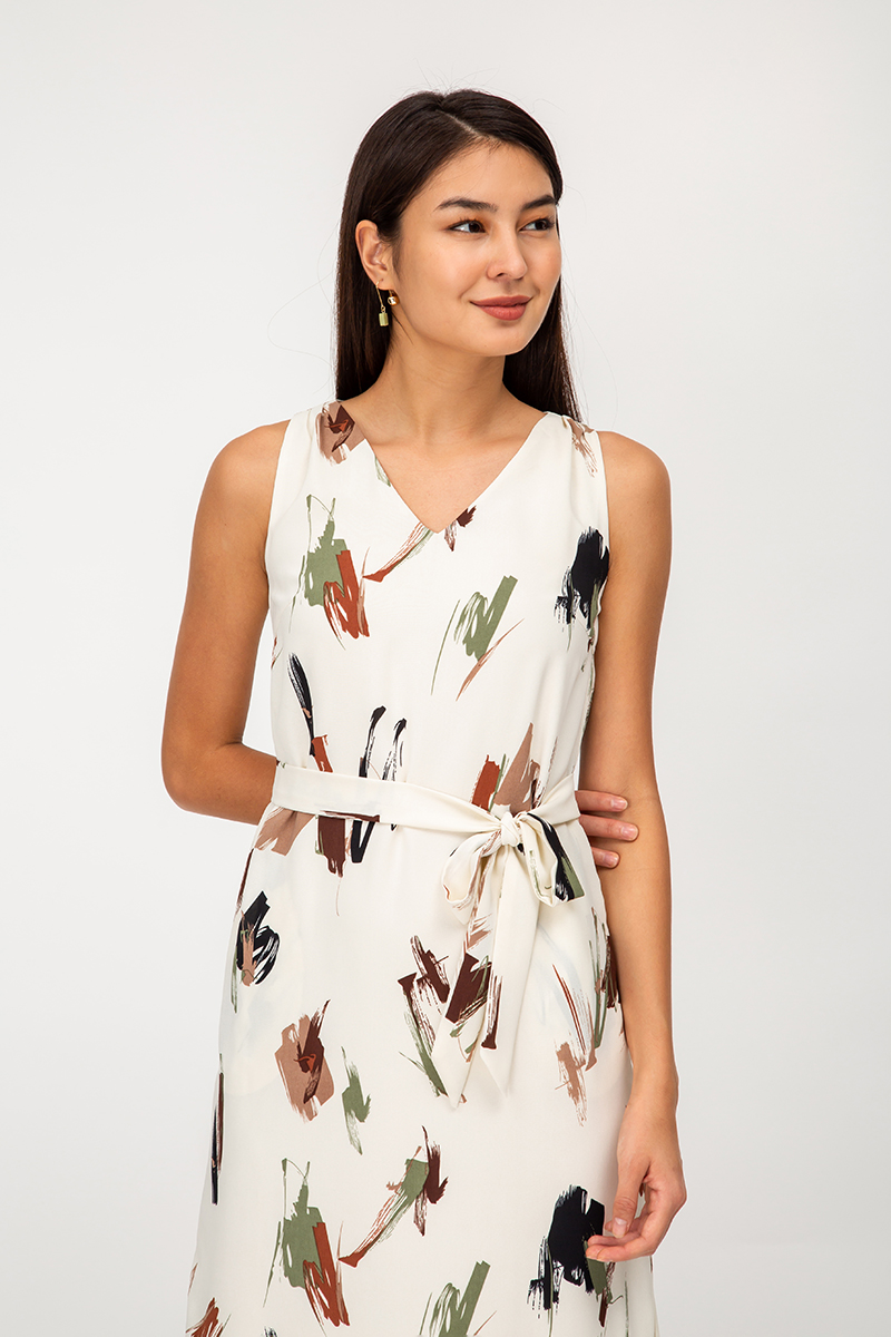 EVREN ABSTRACT MIDI DRESS W SASH