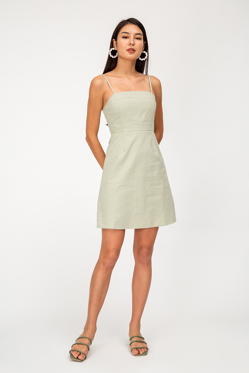 SAMANTHA LINEN MINI DRESS
