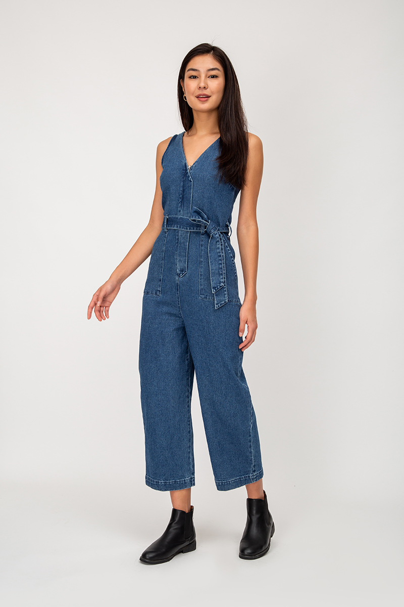 WENCE DENIM JUMPSUIT W SASH