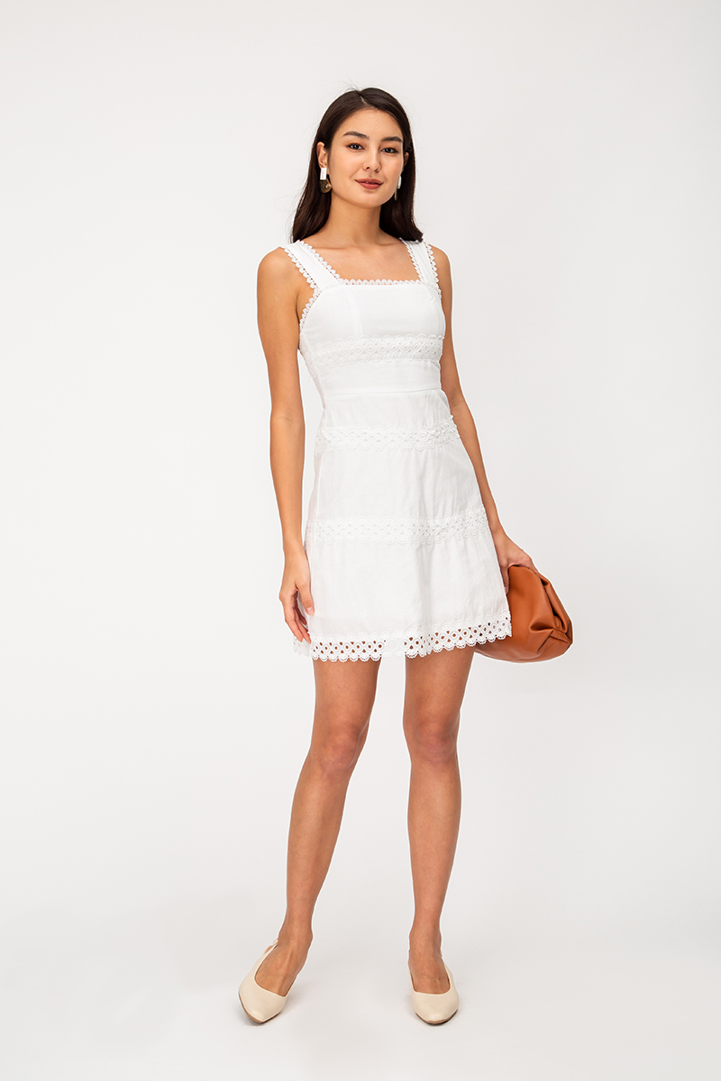 PANDORA CROCHET TRIM LINEN DRESS