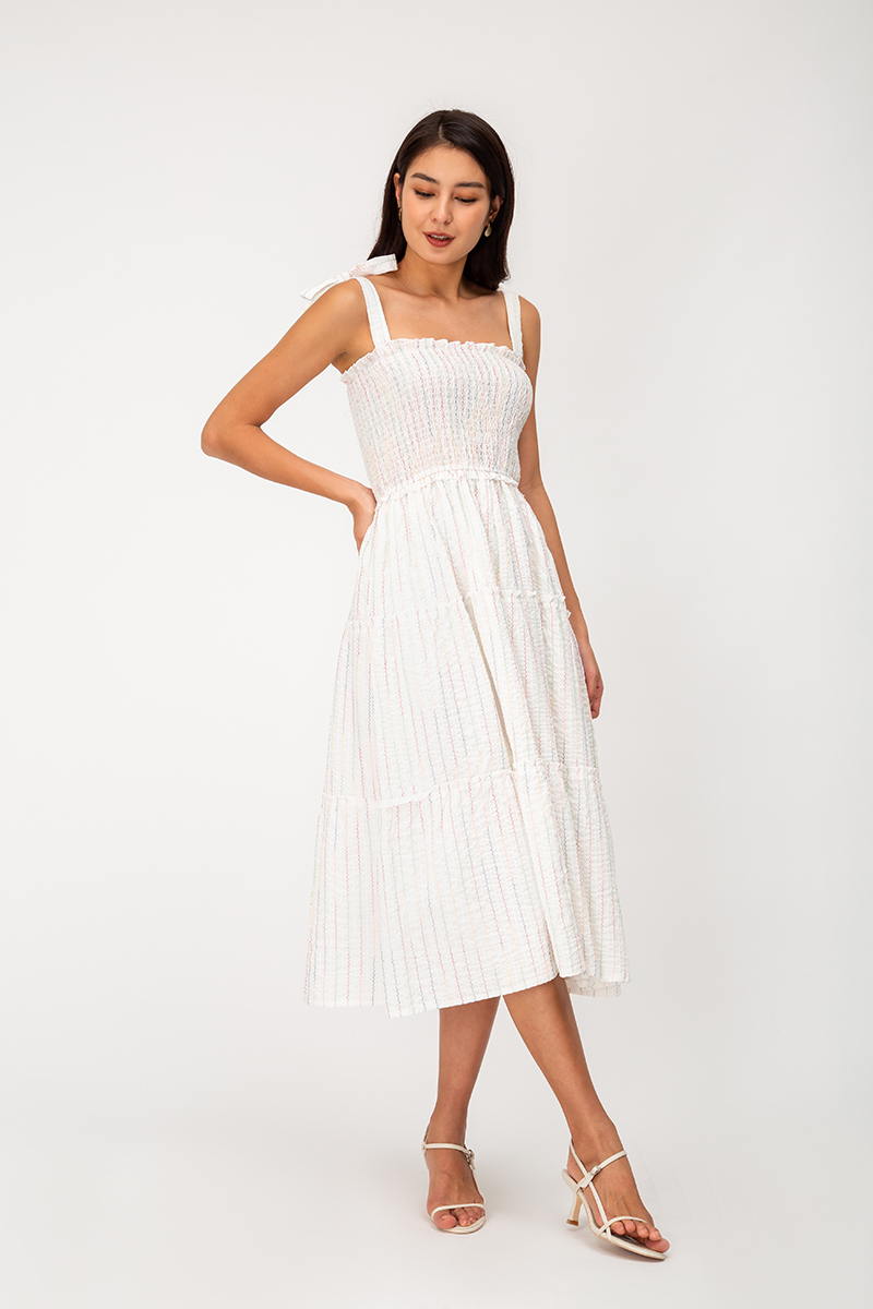 KAIRA RAINBOW THREAD MIDI DRESS