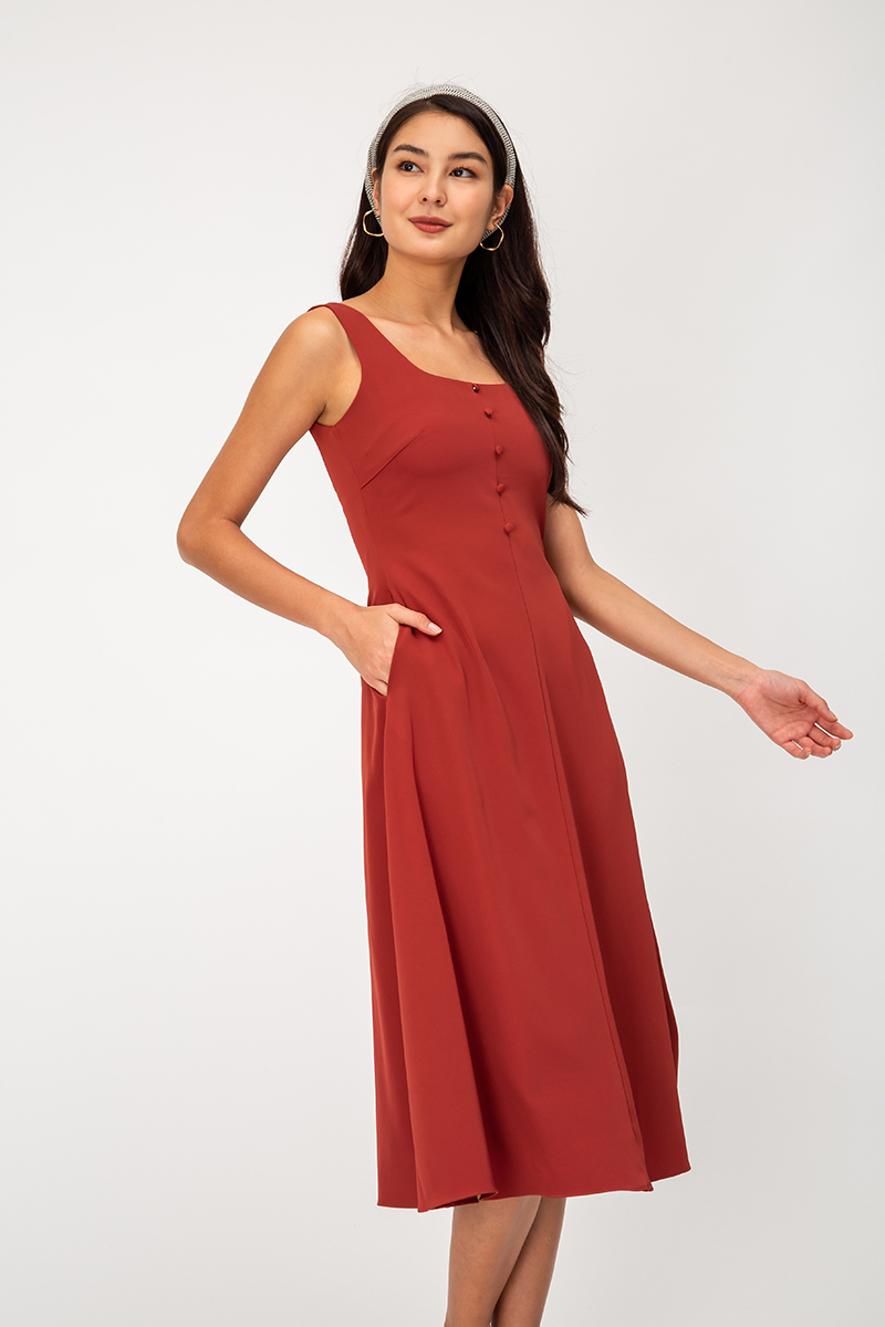 LOLA SQUARENECK BUTTON MIDI DRESS