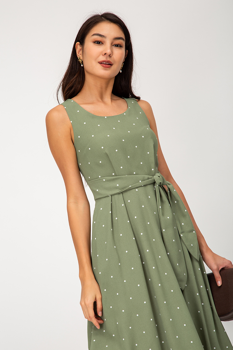LARISSA POLKADOT MIDI DRESS