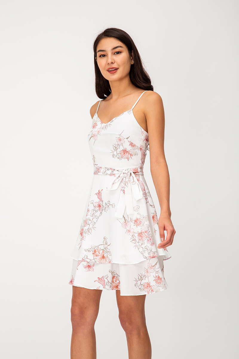 HASHIE FLORAL TIERED SKATER DRESS