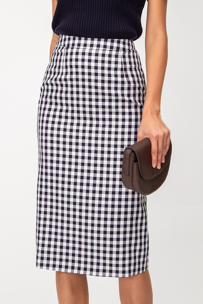 ALONA CHECKERED MIDI SKIRT