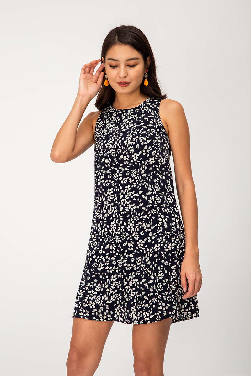 CYRUS FLORAL ABSTRACT SHIFT DRESS