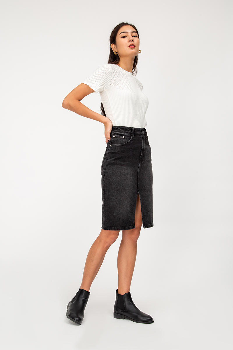 GALEN DENIM SKIRT W FRONT SLIT