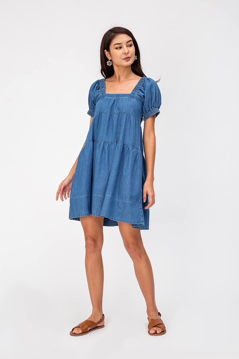 *BACKORDER* AIMEE DENIM BABYDOLL TIERED DRESS