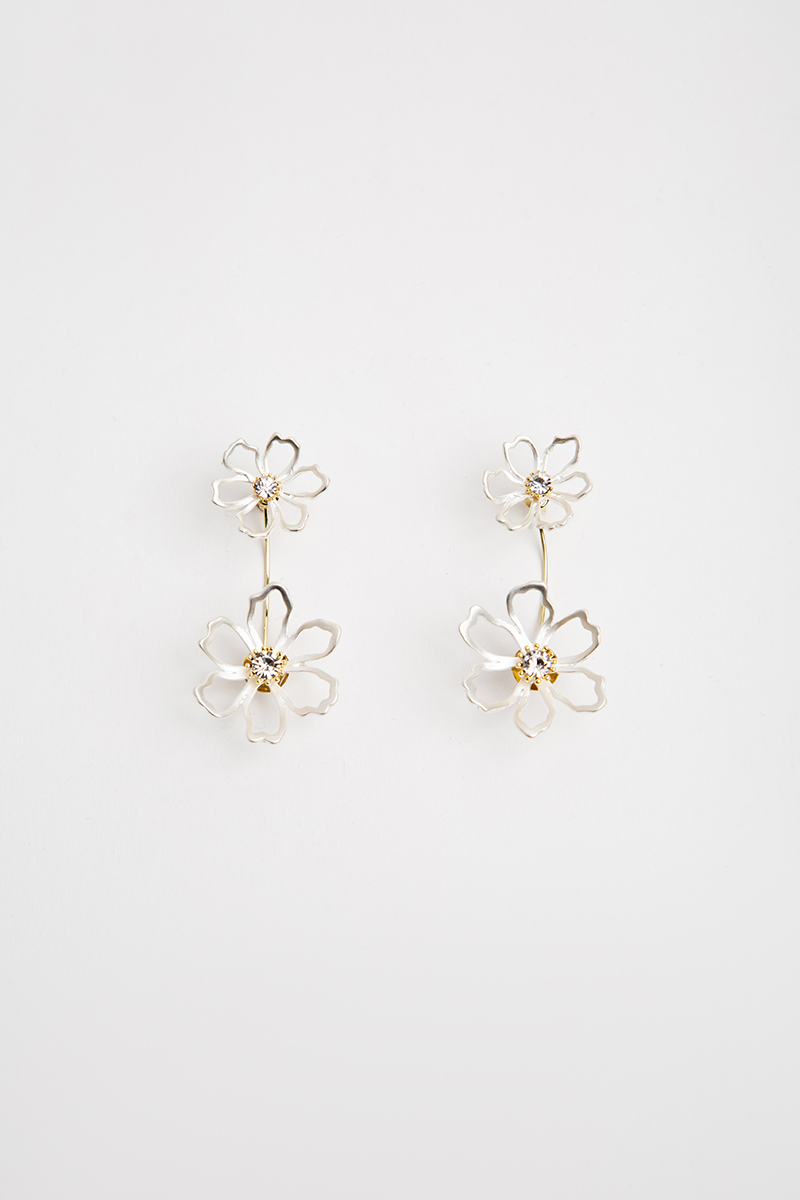 *BACKORDER* SILVER AND GOLD DUO FLOWER EARRINGS
