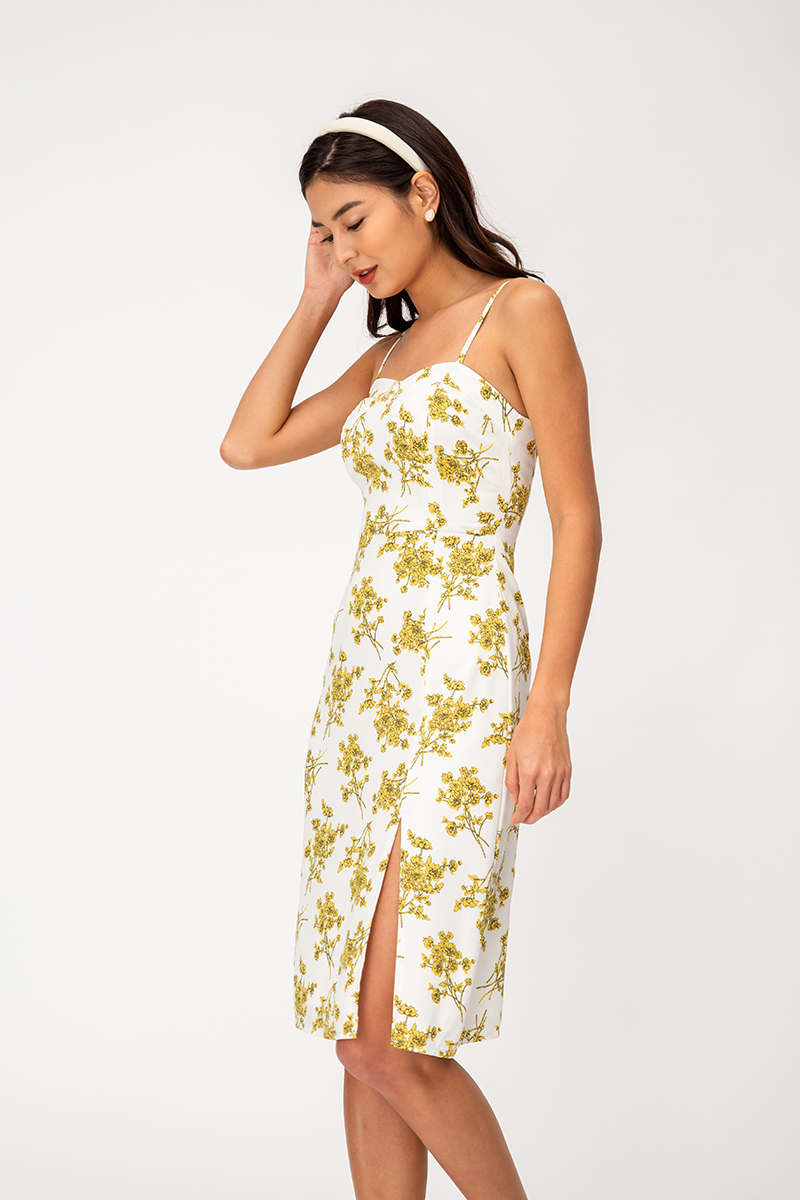 SEDONA FLORAL SLEEVELESS MIDI DRESS W SLIT