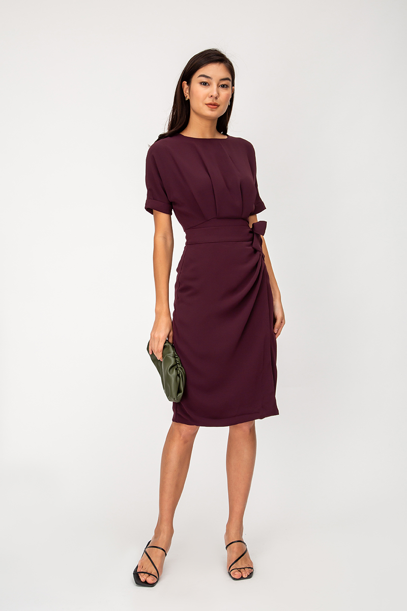 TRUDIE WRAP MIDI DRESS
