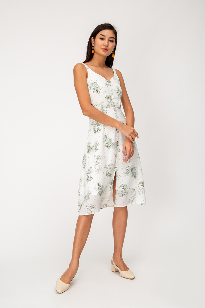 YVETTA FLORAL BUTTONDOWN MIDI DRESS