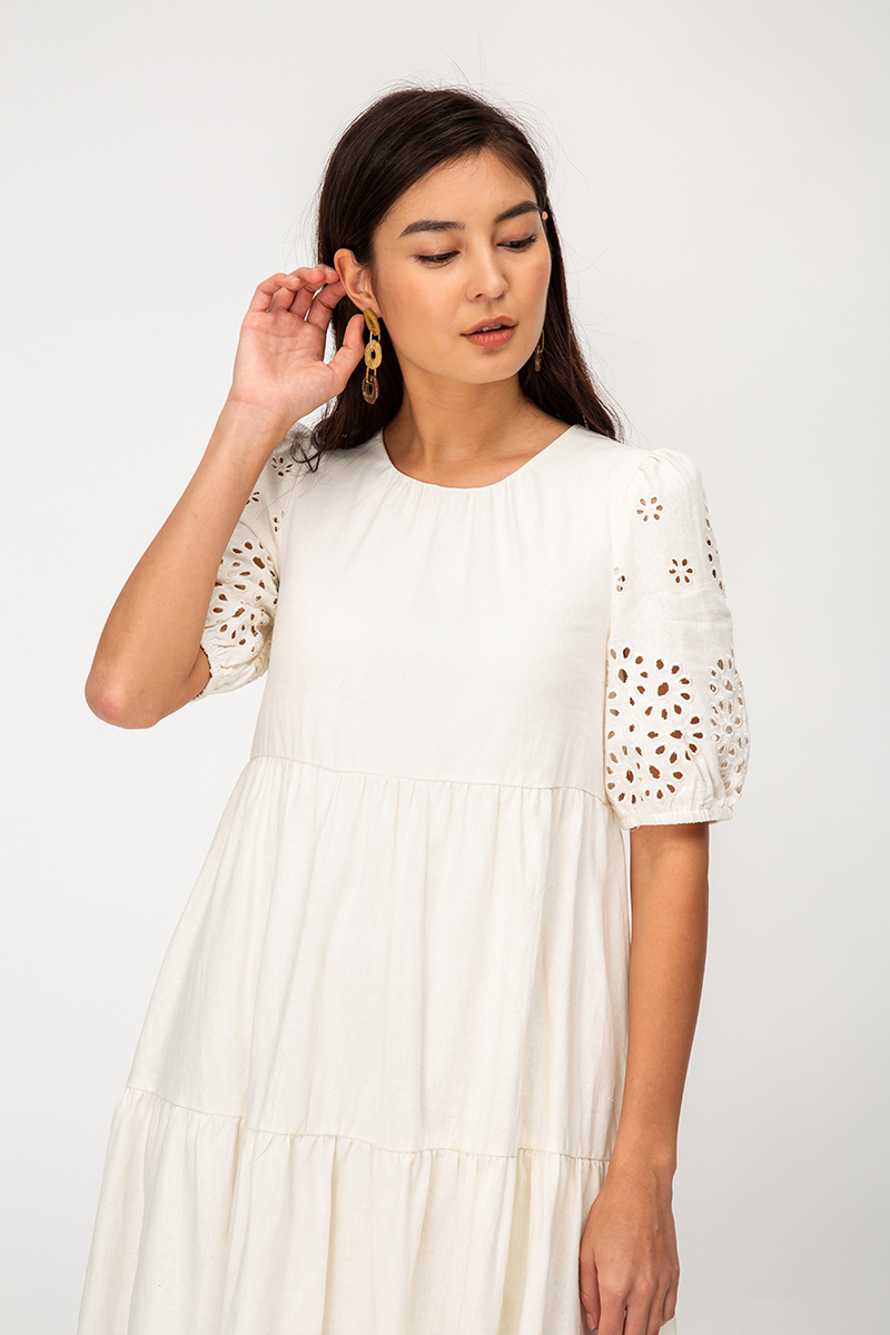 CHRISTIE FLORAL CUTOUT SLEEVE DRESS