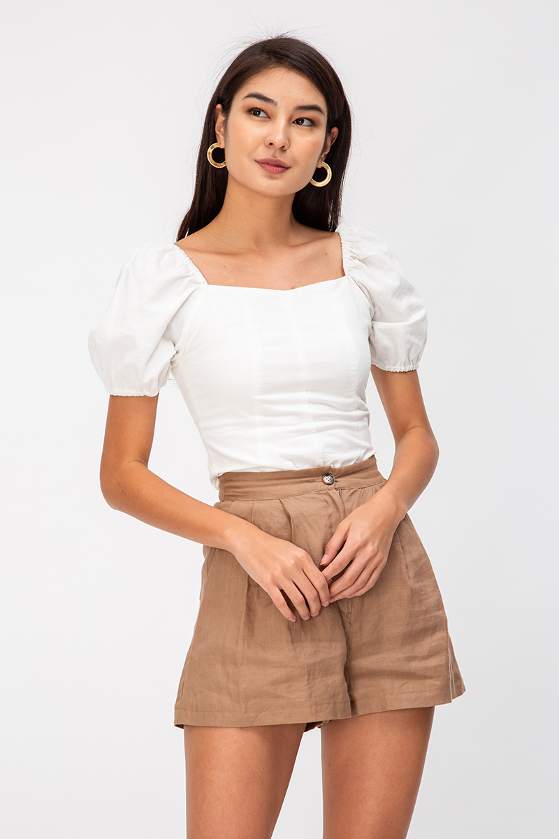 BELLA LINEN PUFF SLEEVE TOP