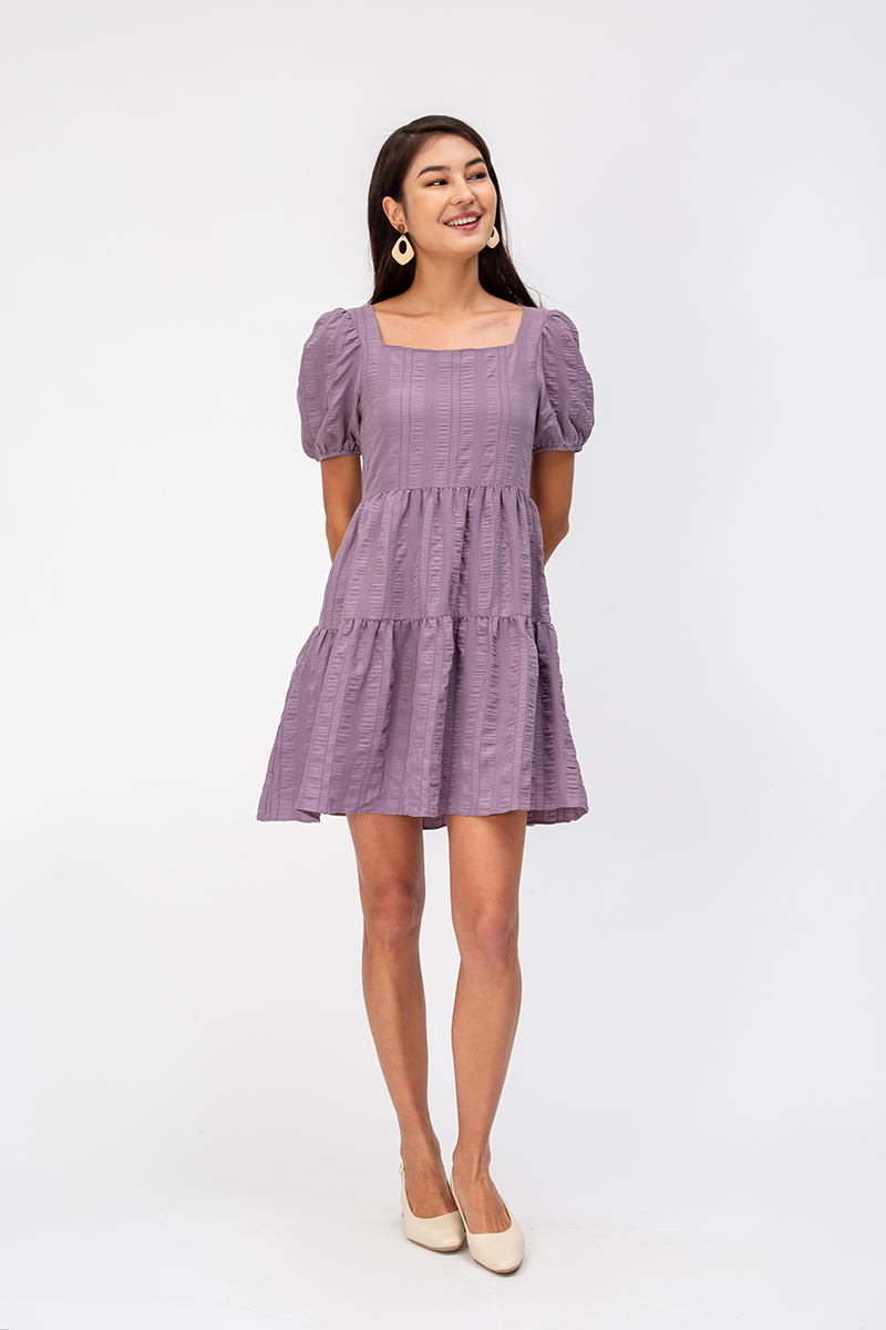 ELLERIE TEXTURED BABYDOLL DRESS