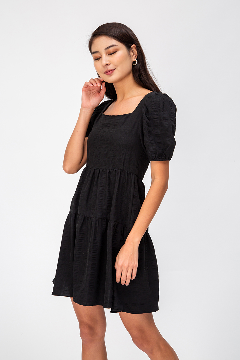 ELLERIE TEXTURED BABYDOLL DRESS