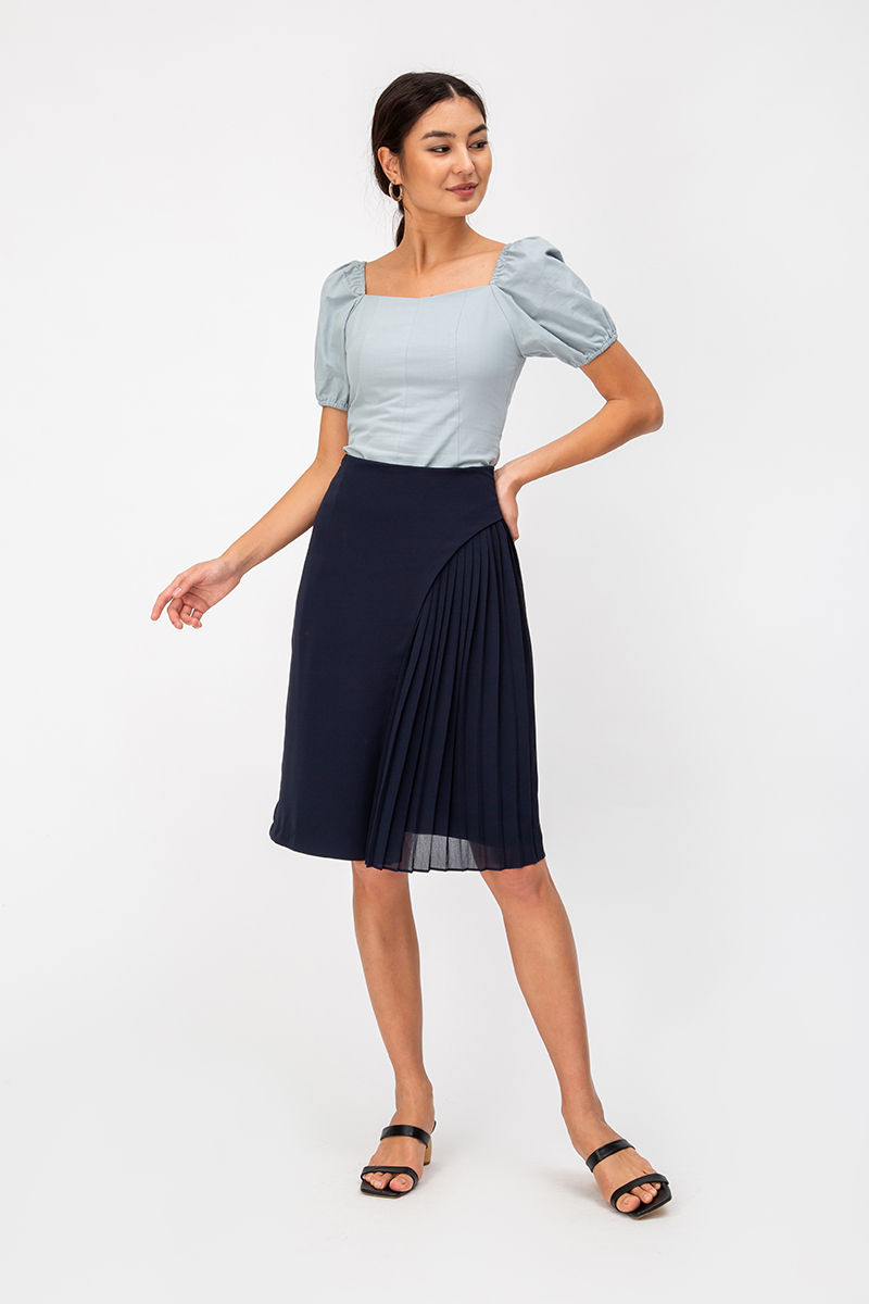 YENDA SIDE PLEAT OVERLAP MIDI SKIRT