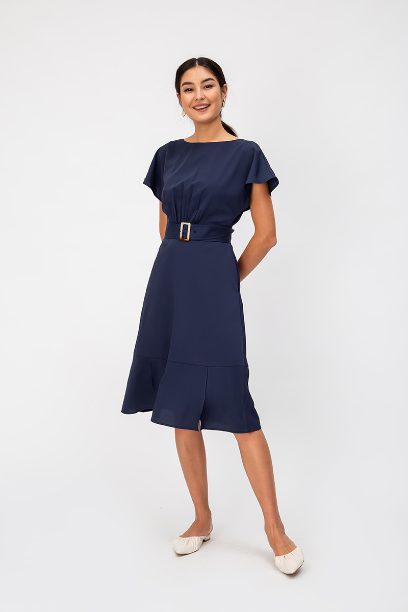 ELDA RUCHED MIDI DRESS W BELT