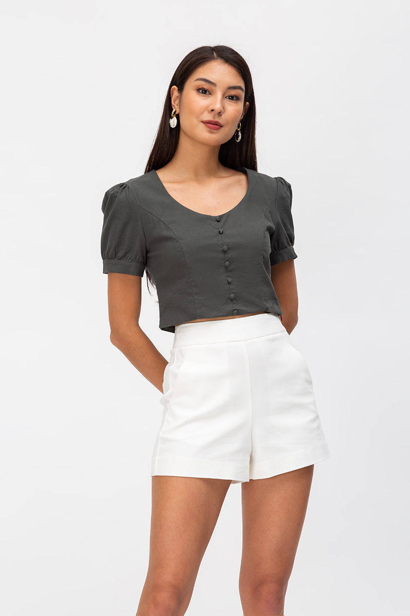 CRUZ LINEN PUFF SLEEVE TOP