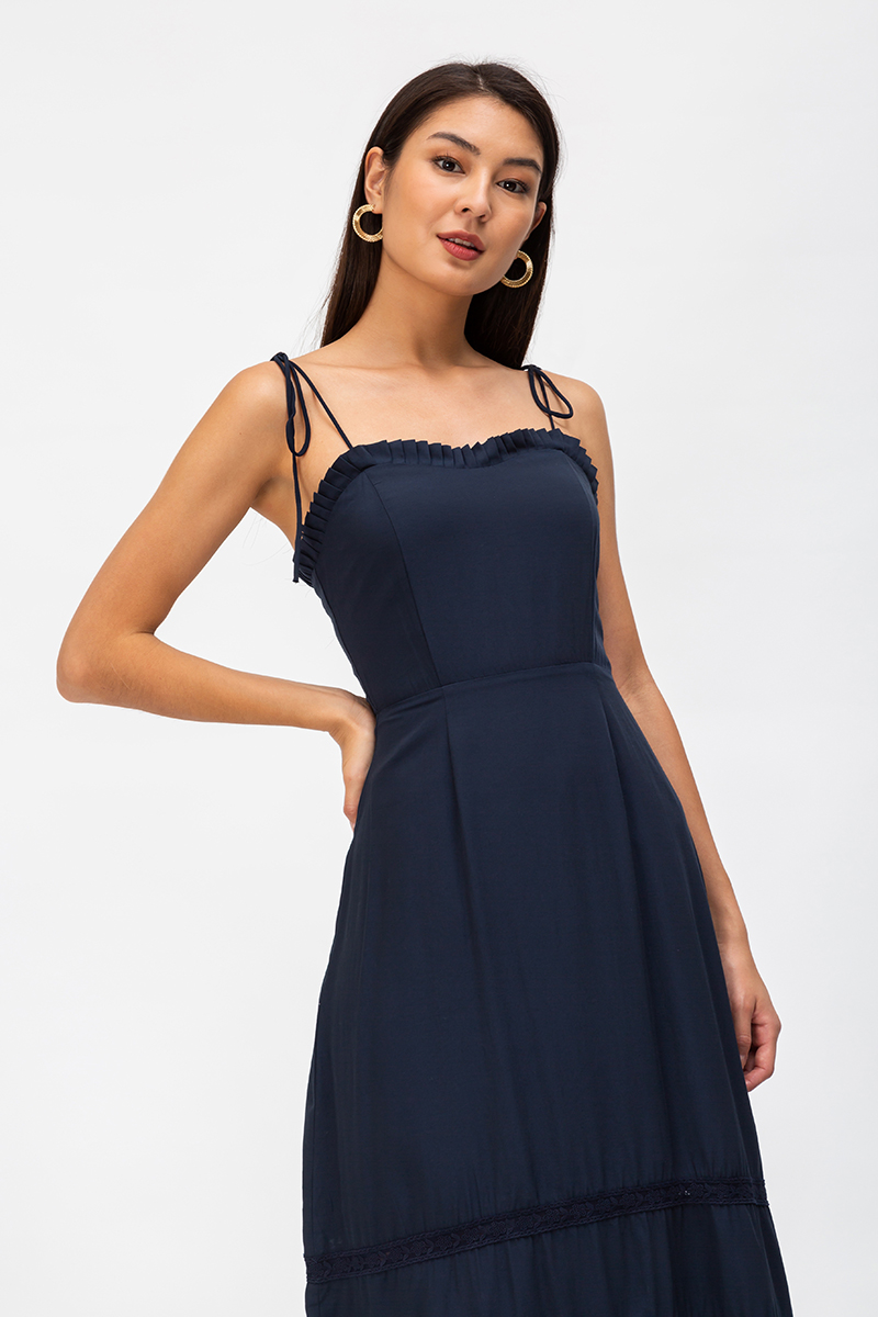 ISADORA FRILLS NECKLINE MIDI DRESS
