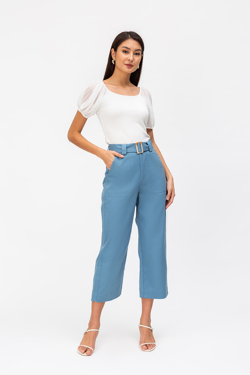 TAYLIA DENIM BUCKLE PANTS