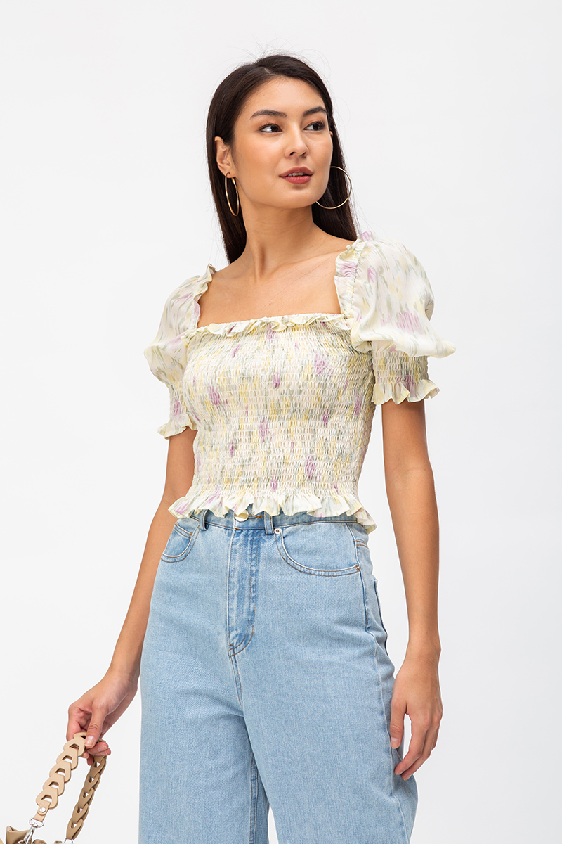 JANEA ABSTRACT SMOCKED TWO WAY TOP