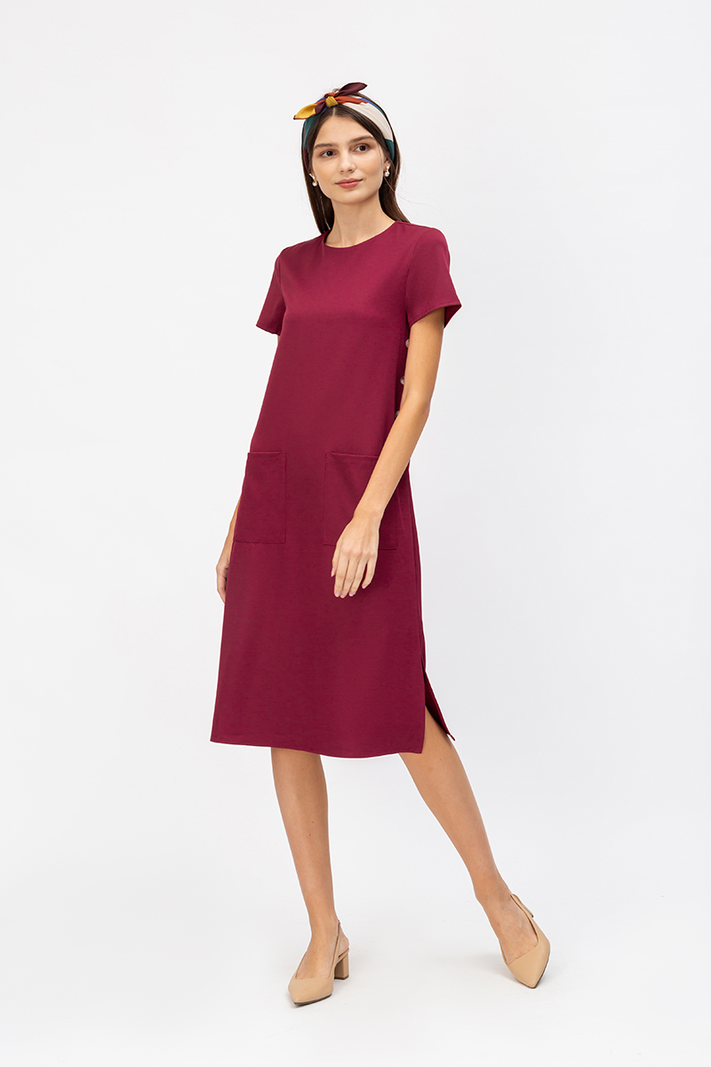 KEDI SIDE BUTTONS MIDI DRESS