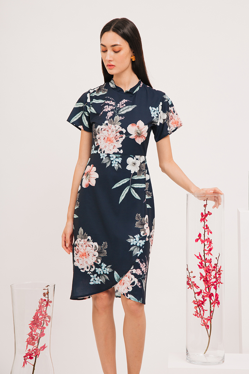 MADEIRA FLORAL CHEONGSAM WRAP MIDI DRESS