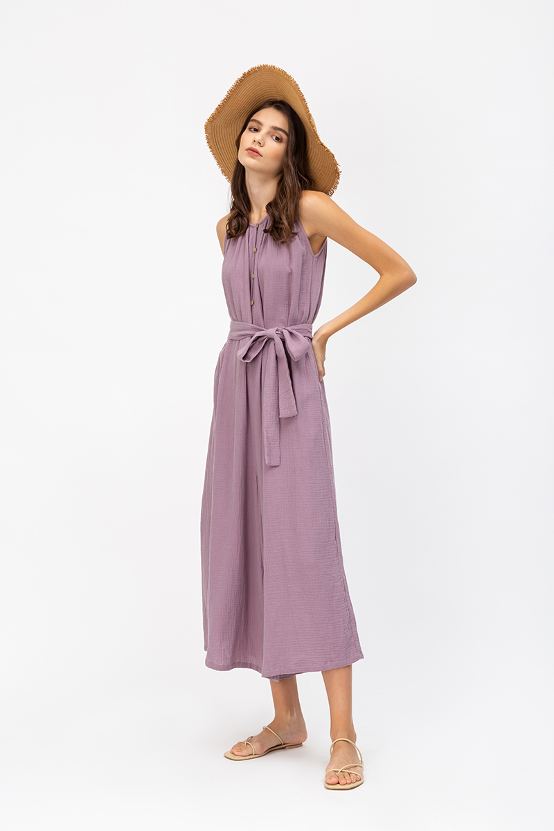 CHIARA BUTTONDOWN COTTON JUMPSUIT W SASH