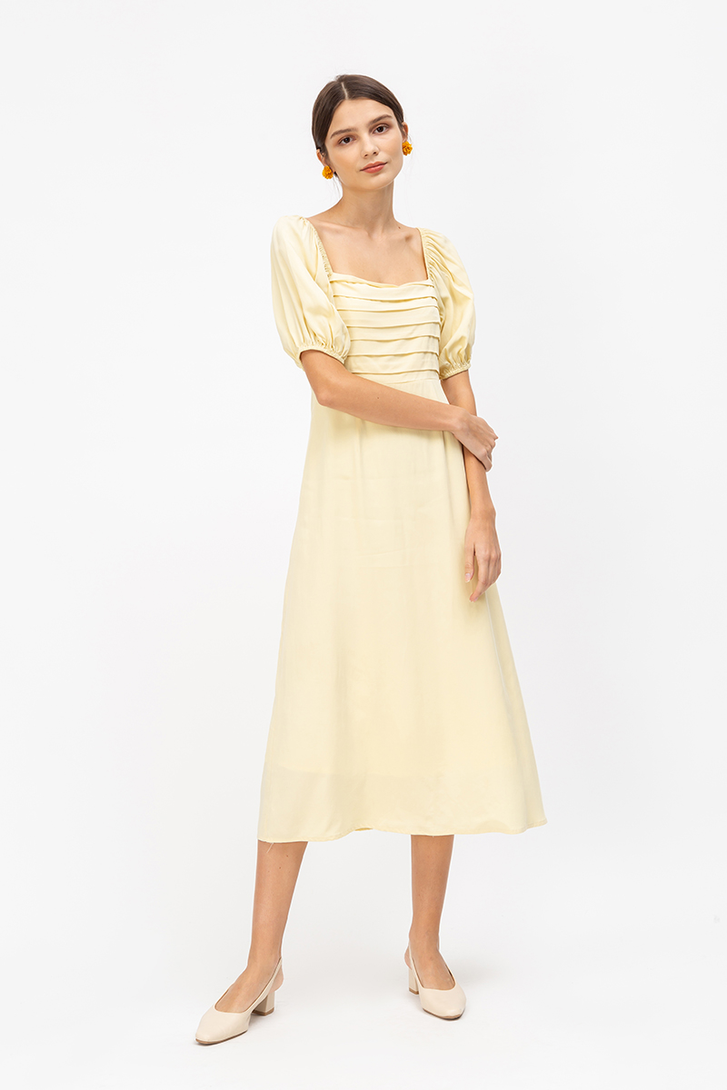 *PREORDER* SHAE PANEL PUFF SLEEVE MIDI DRESS