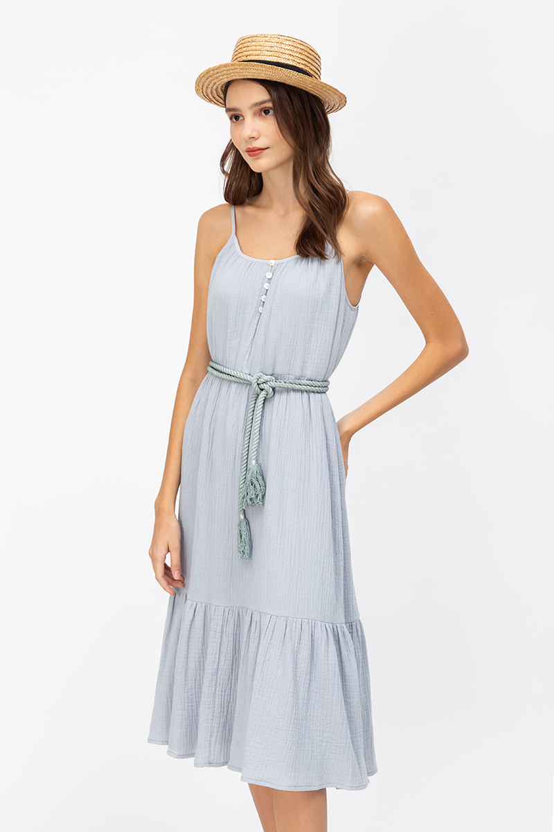 SELENE TIERED MIDI DRESS W ROPE SASH