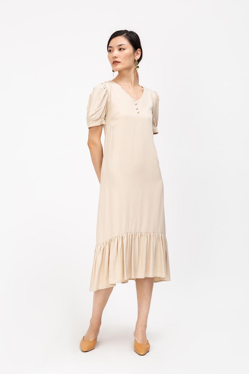 ELOISE TENCEL PUFF SLEEVE DROPWAIST DRESS