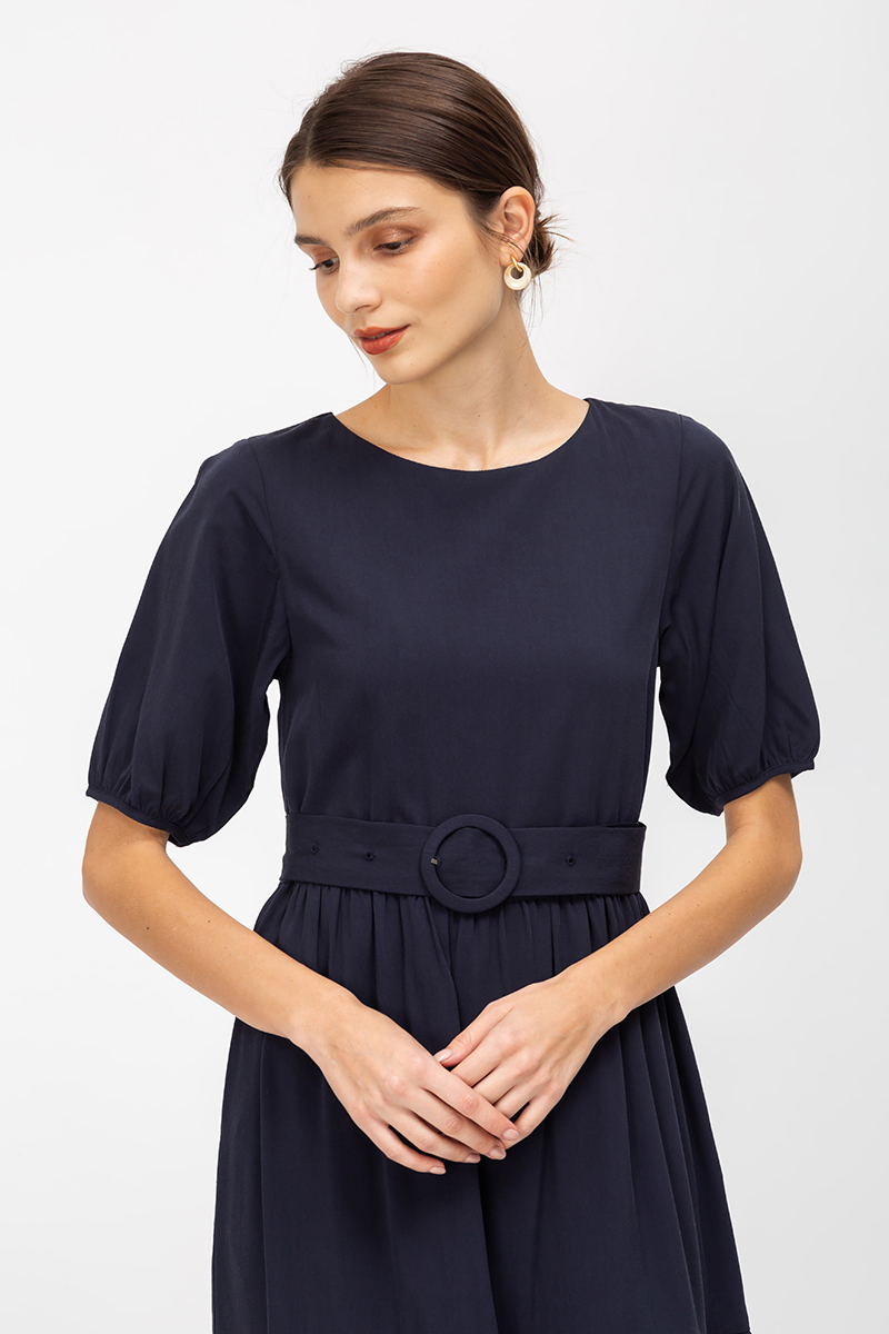 FLORENCE TENCEL TIERED MIDI DRESS W BUCKLE SASH