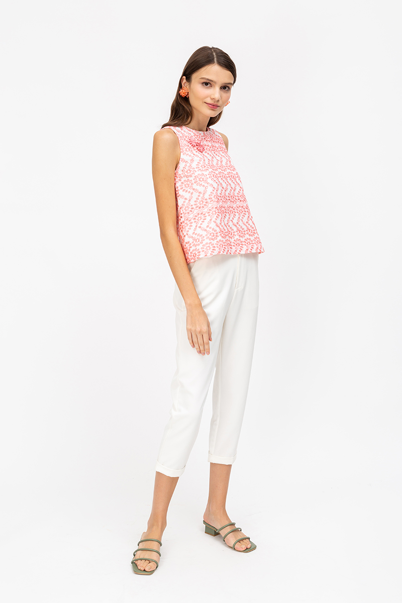 PRISSIE FLORAL EYELET CHINESE BUTTON TOP