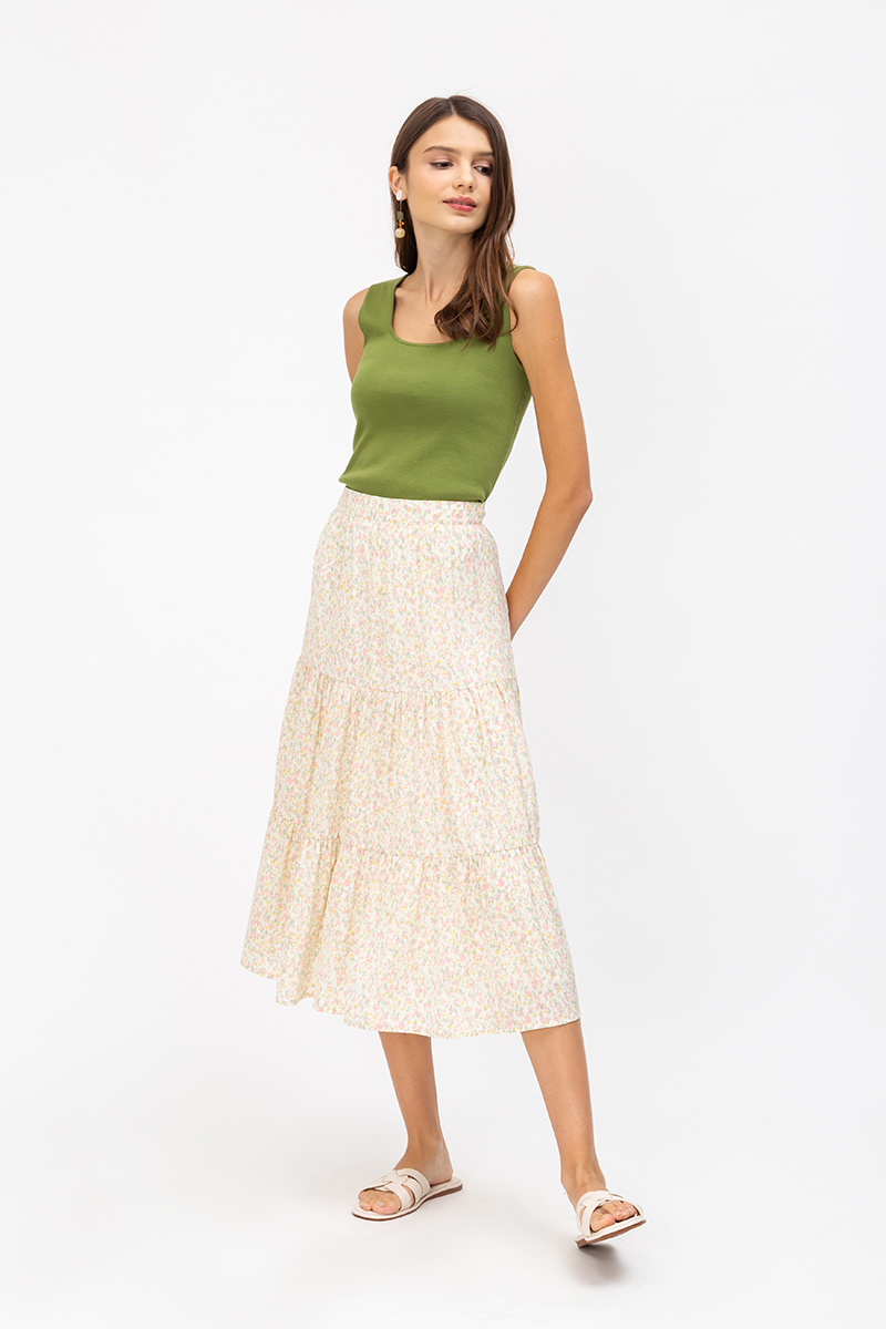 JAMELIA SPECKLED PAINT TIERED SKIRT