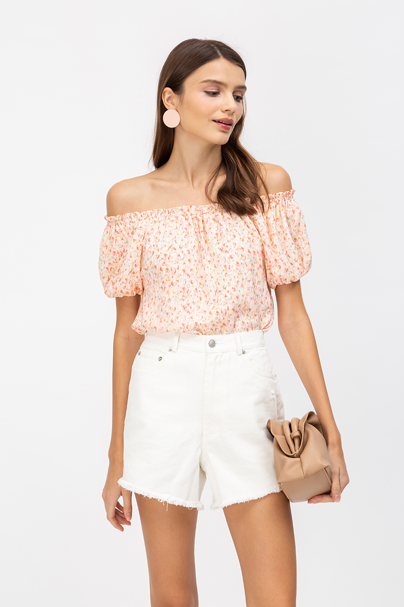 SELKI SPECKLED PAINT OFFSHOULDER TOP