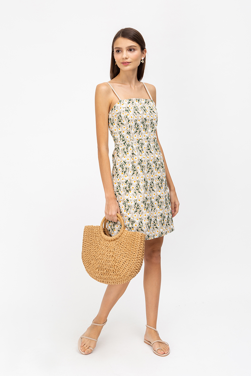 DELLARIE DAISY EMBROIDERY MINI DRESS