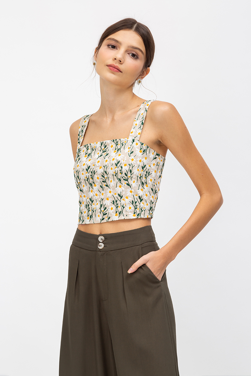 JALISA DAISY EMBROIDERY CROP TOP