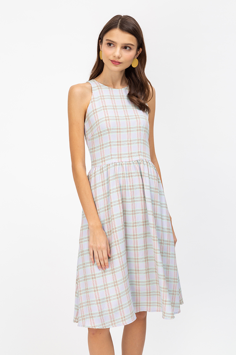 MILEY MIXED CHECKERED MIDI DRESS