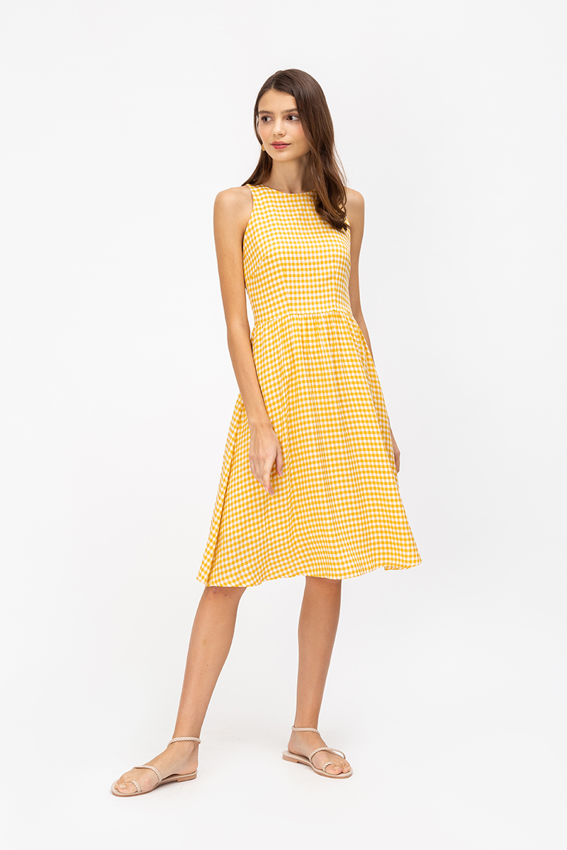 XENIA CHECKERED MIDI DRESS