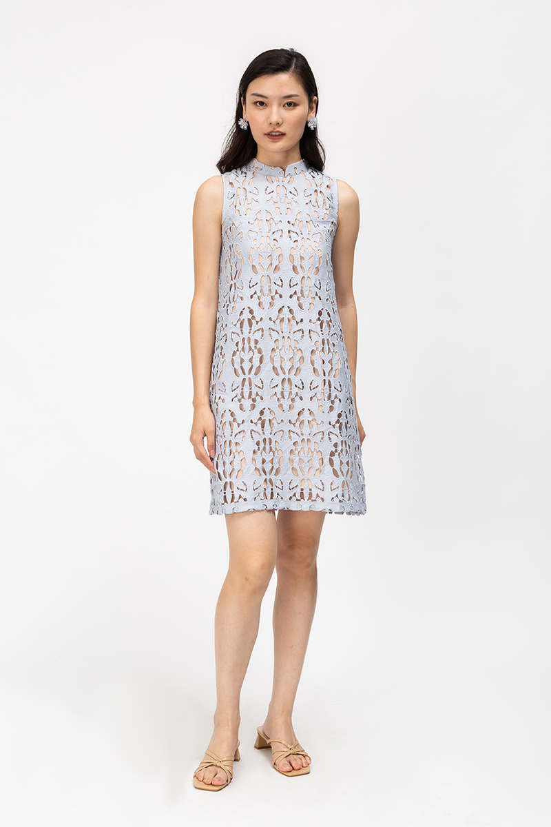 JARIE PAPER CUTOUT SHIFT CHEONGSAM DRESS
